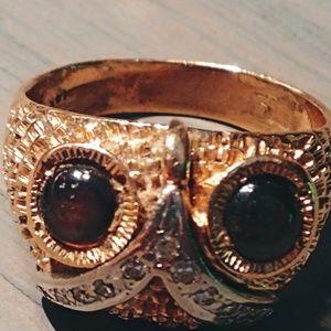 14k owl ring